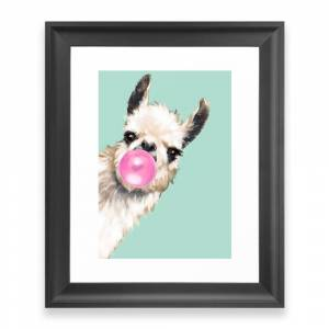 Society6 Bubble Gum Sneaky Llama in Green Framed Art Print by bignosework