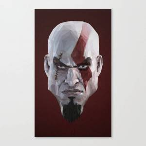 Society6 Triangles Video Games Heroes - Kratos Canvas Print by s2lart