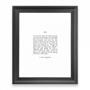 Society6 Life Quote F. Scott Fitzgerald Framed Art Print by summersoulco