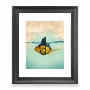 Society6 Brilliant Disguise - Goldfish With A Shark Fin Framed Art Print by vincepezzaniti