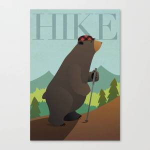 Society6 Hiking Bear Canvas Print by allisonwebster