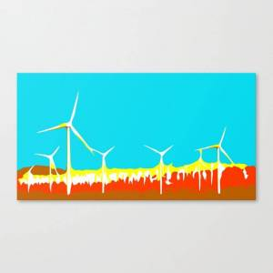 Society6 Wind Turbine In The Desert With Blue Sky Canvas Print by timla