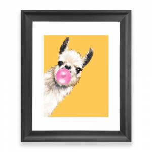 Society6 Bubble Gum Sneaky Llama in Yellow Framed Art Print by bignosework