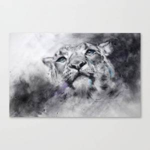 Society6 Snow Leopard In Charcoal Canvas Print by stephiebutler