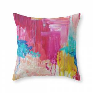 Society6 Elated - Beautiful Bright Colorful Modern Abstract Painting Wild Rainbow Pastel Pink Color Throw Pillow by ebiemporium