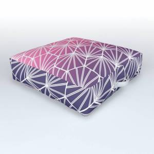 Society6 Girly Modern Pink Purple Geometric Abstract Gradient Ombre Outdoor Floor Cushion by lafemmeart