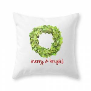 Society6 Merry & Bright Christmas Boxwood Wreath Throw Pillow by suttonplacedesigns
