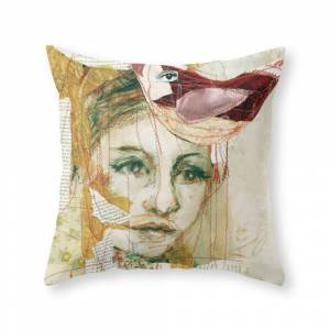 Society6 Red Bird Throw Pillow by lamade