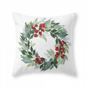 Society6 Holly Berry Throw Pillow by sweetseasonsart