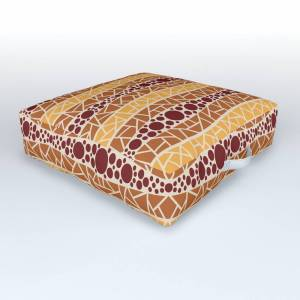 Society6 Mosaic Wavy Stripes in Burgundy, Terracotta, Apricot and Cream Outdoor Floor Cushion by fischerfinearts