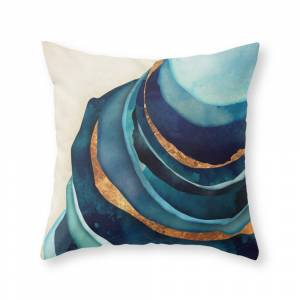 Society6 Abstract Blue With Gold Throw Pillow by spacefrogdesigns