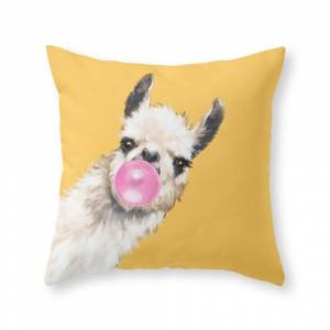 Society6 Bubble Gum Sneaky Llama in Yellow Throw Pillow by bignosework