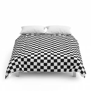 Society6 Classic Black and White Race Check Checkered Geometric Win Comforter by saburkitty