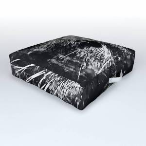 Society6 Furry Fish Otter Splatter Watercolor Black White Outdoor Floor Cushion by gxp-design