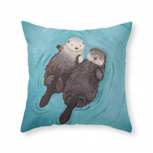 Society6 Otterly Romantic - Otters Holding Hands Throw Pillow by whenguineapigsfly