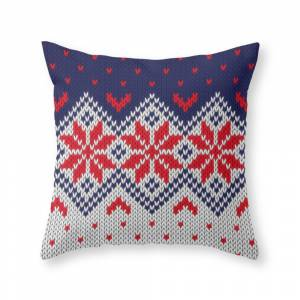 Society6 Winter Knitted Pattern 11 Throw Pillow by knittedcake
