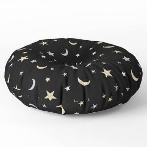 """Society6 Gold And Silver Moon And Star Pattern On Black Background Round Floor Pillow - x 26"""" by seafoam12"""