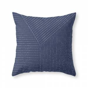 Society6 Lines / Navy Throw Pillow by summersunhomeart