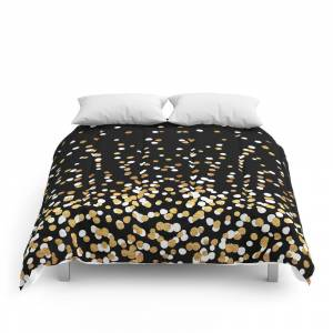 Society6 Floating Dots - White and Gold on Black Comforter
