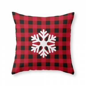 Society6 Red Buffalo Check - Snowflake - More Colors Throw Pillow by lovelylifestyle