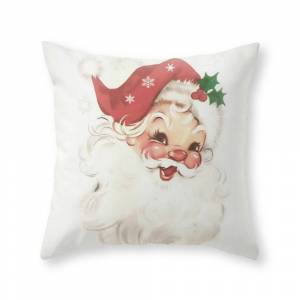 Society6 Red Retro Vintage Santa Throw Pillow by sylviacookphotography