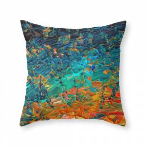 Society6 Eternal Tide 2 Rainbow Ombre Ocean Waves Abstract Acrylic Painting Summer Colorful Beach Blue Orange Throw Pillow by ebiemporium