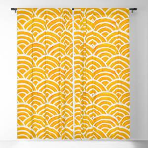Society6 Japanese Seigaiha Wave – Marigold Palette Blackout Window Curtains by catcoq