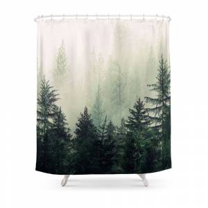 Society6 Foggy Pine Trees Shower Curtain by andreas12