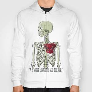 Society6 V-Twin Engine at Heart_White Hoody by jamieillustration