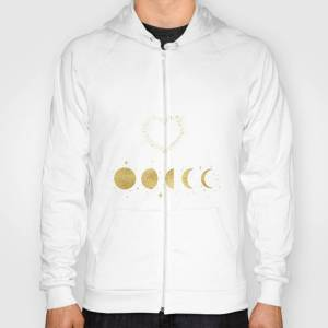 Society6 Faux Gold Moon Phases Gold Heart Hoody by art4sharing