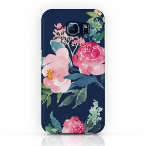 Society6 Navy and Pink Watercolor Peony Phone Case by entirelyeventfulday