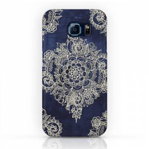 Society6 Cream Floral Moroccan Pattern on Deep Indigo Ink Phone Case by micklyn