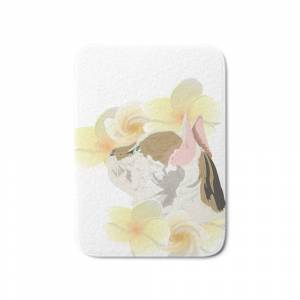 Society6 Plumeria and Purrs Bath Mat by indigoego
