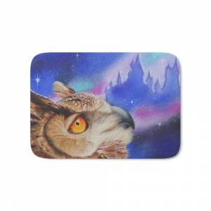 Society6 Dreaming of the Owlery Bath Mat by artontherox