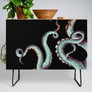 Society6 Teal Tentacles Octopus On Black Credenza by eveystudios