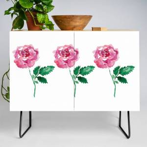 Society6 Painterly Rose Credenza by kayladale