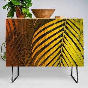 Society6 Tropical Leaves Green Mocca No1 Credenza by piaschneiderbotanicalart