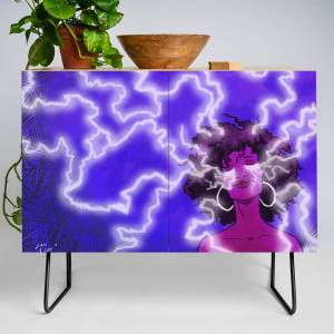 Society6 The Girl With Storm Hair Credenza by caiofilipe
