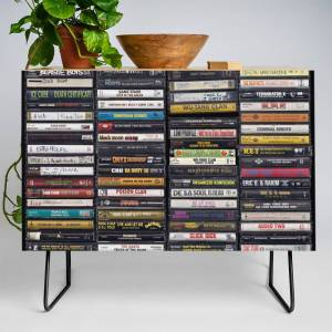 Society6 Old 80's & 90's Hip Hop Tapes Credenza by gingerblah