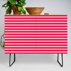 Society6 Striped Summer Pattern, Red and Pink Credenza by meganmorrisart
