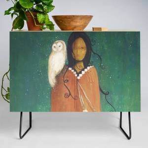Society6 Wise Woman // Native American Woman Shaman Shamanism Owl Spirit Animal Feather Tree Turquoise Indian Credenza by carriemartinez