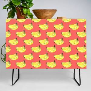 Society6 Watercolor Bananas On A Red Background Credenza by gata_iris