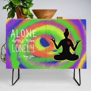 Society6 Alone Doesn't Mean Lonely Yoga Pose Credenza by khadijlloyd