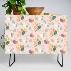 Society6 Colorful Leaves, In A Seamless Pattern Design Credenza by andreeae