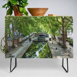 Society6 Lock Ecluse Du Temple At The Canal Saint-Martin In Paris Credenza by davidjallaud