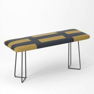 Society6 Irregular Stripes Blue And Yellow Bench by themagicstudio