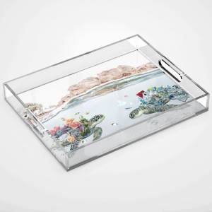 Society6 Coral & Trash Turtles • Save the Planet Acrylic Tray by heyluisa