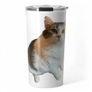 Society6 Happy Miss B Travel Mug by missbiscuitsfatcat
