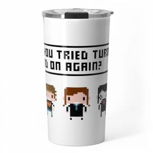 Society6 The IT Crowd Characters Travel Mug by pixelpower