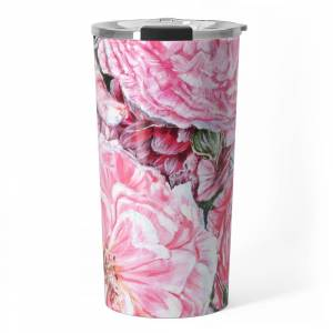 Society6 Celebrations - Peonies Galore- Original Fine Art Floral Painting By Hsin Lin / Hsin Lin Art Travel Mug by hsinlin